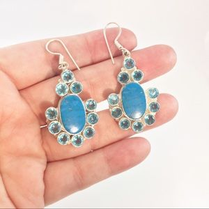 New Copper Turquoise and Sky Blue Topaz earrings